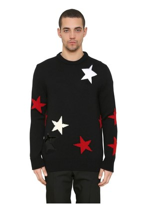 STARS INTARSIA WOOL KNIT SWEATER
