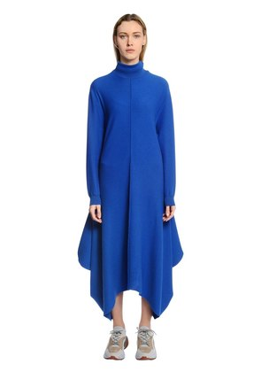 DRAPED WOOL TURTLENECK DRESS