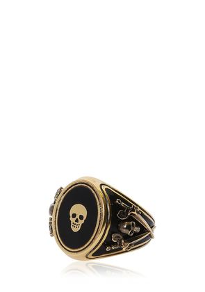 SKULL ENAMELED BRASS RING