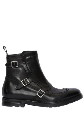 WING TIP LEATHER BOOTS WITH GAITER
