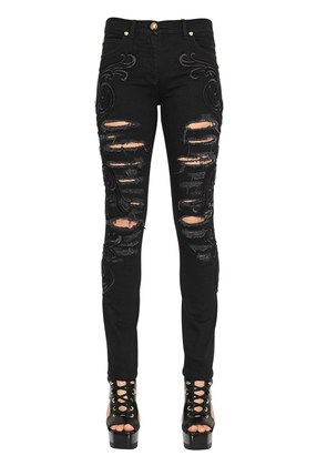 EMBROIDERED RIPPED SKINNY DENIM JEANS