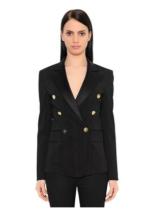 JACQUARD DOUBLE BREASTED TUXEDO JACKET
