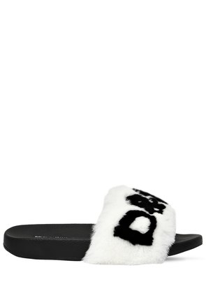 20MM RABBIT FUR LOGO SLIDE SANDALS