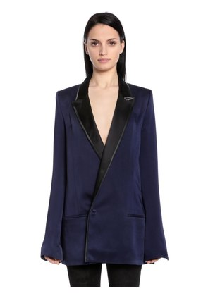 DOUBLE BREASTED SATIN LONG BLAZER
