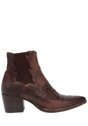 40MM LEATHER COWBOY ANKLE BOOTS