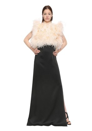 SATIN SABLÈ DRESS WITH FEATHERS