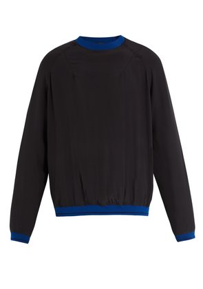 Contrasting detail silk-crepe sweater