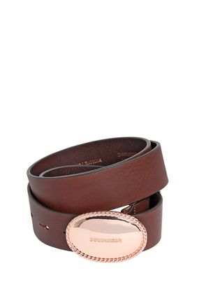 35MM LEATHER BELT W/ LOGO BUCKLE