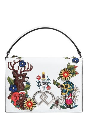 LARGE EMBROIDERED LEATHER TOP HANDLE BAG