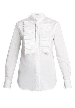 Ruffled-bib stretch-cotton shirt