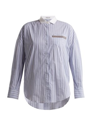 Embellished-pocket striped cotton-blend shirt