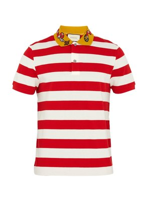 Embroidered striped polo shirt