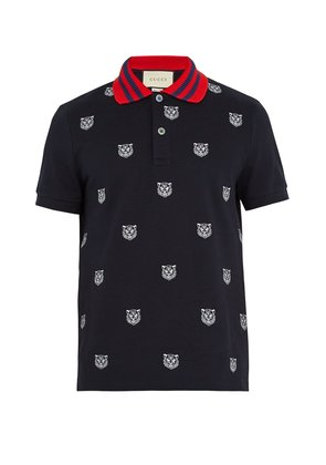 Tiger-embroidered stretch-cotton polo shirt