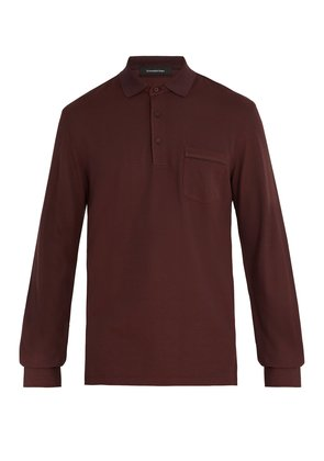 Long-sleeved cotton-blend jersey polo shirt