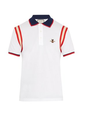 Bee-embroidered stretch-cotton piqué polo shirt