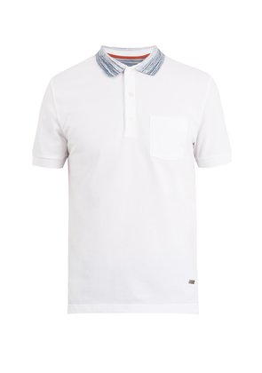 Cotton polo shirt with contrast collar