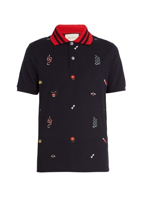 Embroidered stretch-cotton blend piqué polo shirt