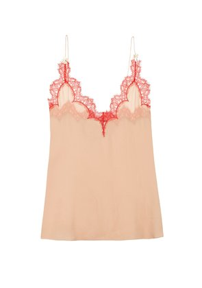 Eyelash lace-trimmed silk-georgette cami top