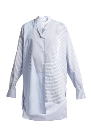 Striped asymmetric-hem cotton shirt