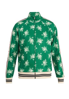 Floral-print Web-trimmed jersey track top