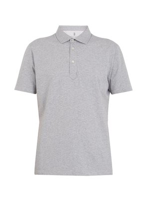 Point-collar cotton-jersey polo shirt
