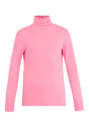 Logo-embroidered roll-neck cotton top