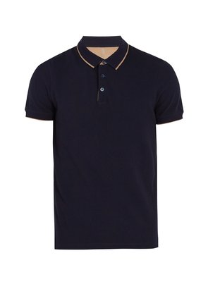 Contrast-striped cotton-piqué polo shirt