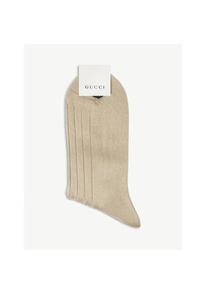 Bee-embroidered wool-blend socks