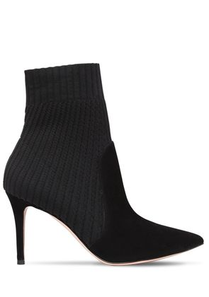 85MM RIBBED KNIT & SUEDE ANKLE BOOTS