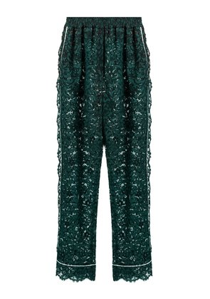 High-rise straight-leg cordonetto-lace trousers