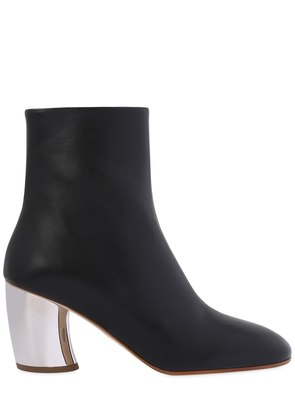 70MM METALLIC LEATHER ANKLE BOOTS