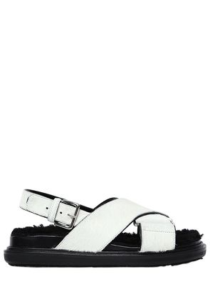 30MM PONY & SHEARLING SANDALS