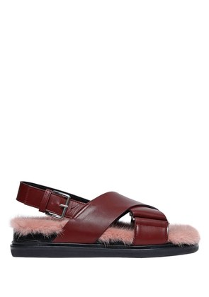 30MM LEATHER SANDALS W/ MINK INSOLE