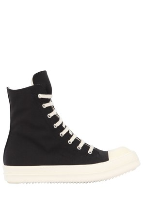 COTTON BLEND CANVAS HIGH TOP SNEAKERS