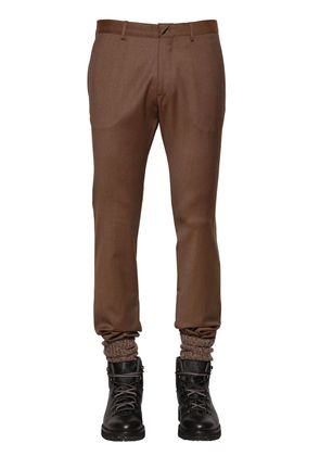 STRETCH WOOL PANTS W/ ELASTIC CUFFS