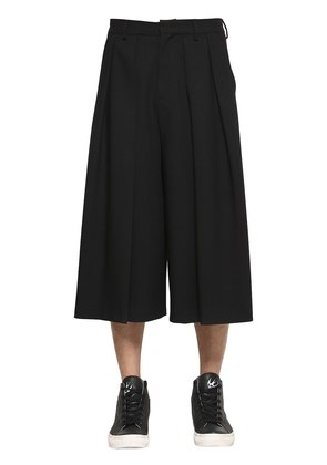 PLEATED COOL WOOL CROPPED PANTS