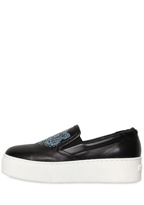 40MM TIGER LEATHER SLIP-ON SNEAKERS