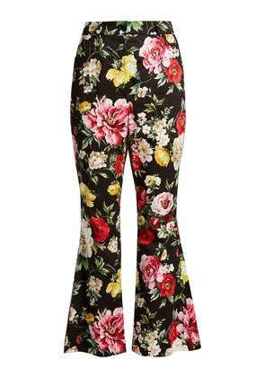 Floral-print kick-flare cropped trousers