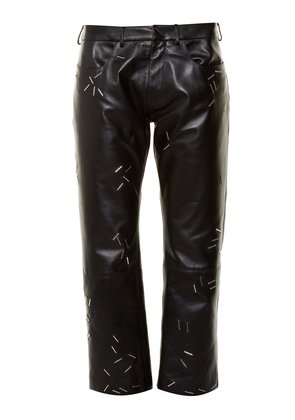 Staple-embellished straight-leg leather trousers