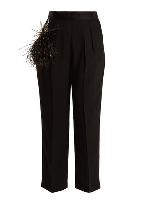 Wide-leg feather-trimmed trousers