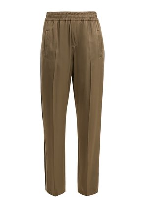 Side-stripe wide-leg satin trousers