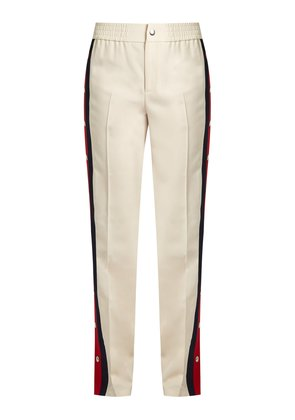 Striped-side wool and silk-blend trousers