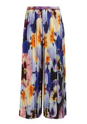Pansy-print pleated silk cropped trousers