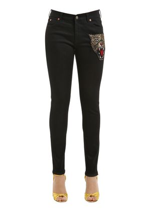 SKINNY TIGER PATCH DENIM JEANS