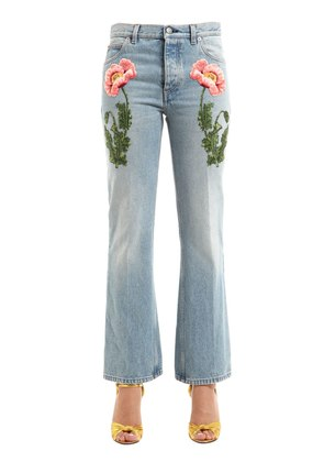 FLARED FLORAL PATCHES DENIM JEANS