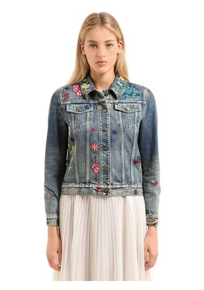 EMBROIDERED PATCHES COTTON DENIM JACKET
