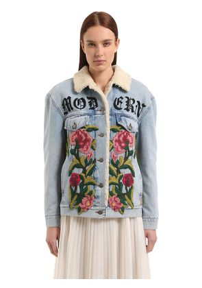 EMBROIDERED DENIM & SHEARLING JACKET