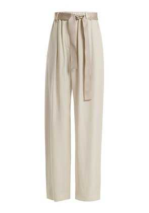 Bead-embellished wide-leg trousers