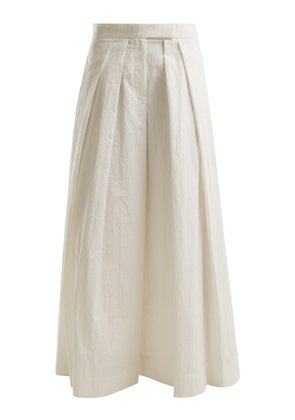 Pleated wide-leg cotton-blend trousers