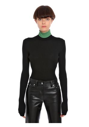 RIBBED WOOL TURTLE NECK TOP